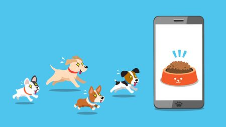 Vector cartoon character dogs and smartphone for design.