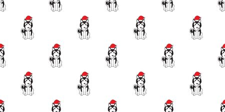 Cartoon siberian husky dog with santa claus christmas hat seamless pattern background for design.