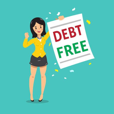 Cartoon businesswoman with debt free letter for design.