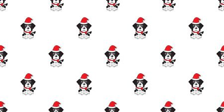 Cartoon cute saint bernard dog with santa claus christmas hat seamless pattern background for design.