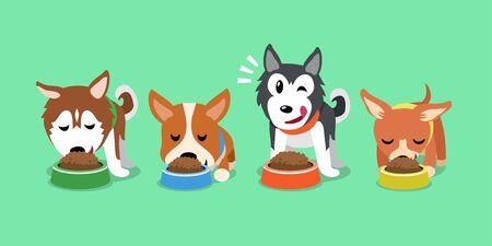 Vector cartoon cute dogs with food bowls for design. Ilustração
