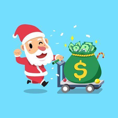Merry Christmas vector cartoon character santa claus pushing big money bag for design.