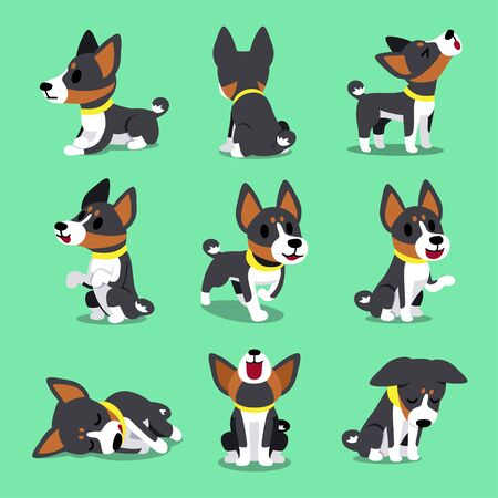Cartoon character basenji dog poses for design.