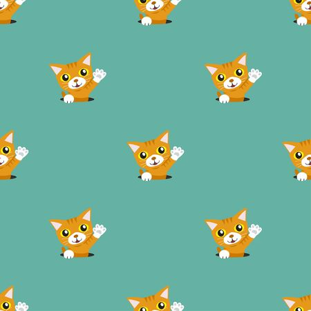 Vector cartoon character cute tabby cat seamless pattern background for design.