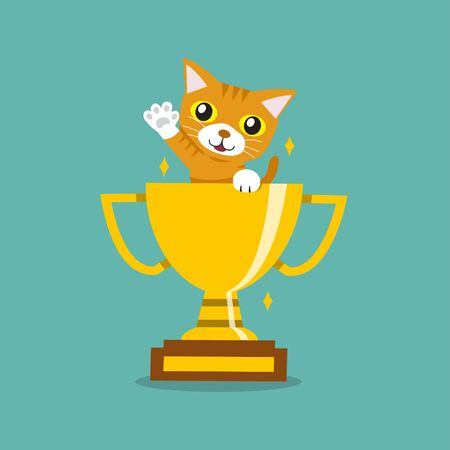 Vector cartoon character cute tabby cat with gold trophy cup award for design. Çizim