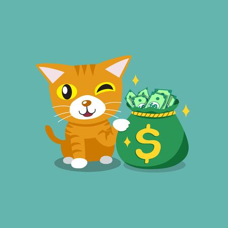 Vector cartoon character cute tabby cat with money bag for design.