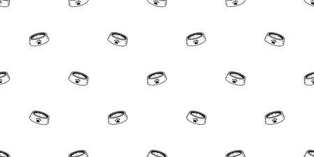 Vector cartoon dog food bowl seamless pattern background for design. Çizim