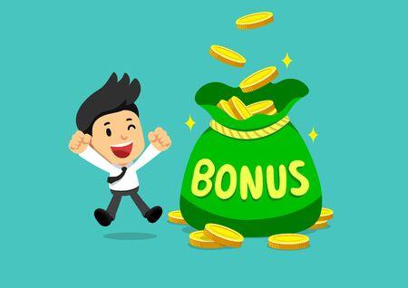 Cartoon happy businessman with big bonus money bag for design. Vetores