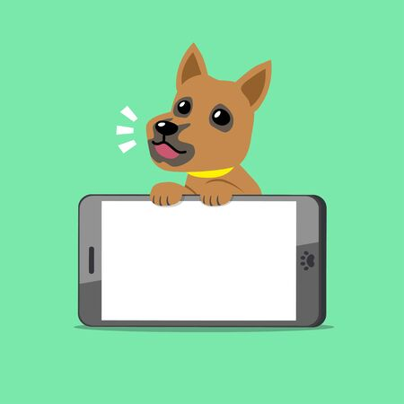 Cartoon character brown dog and big smartphone for design.