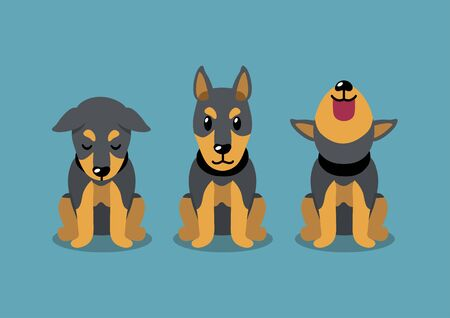Cartoon character doberman dog poses for design.