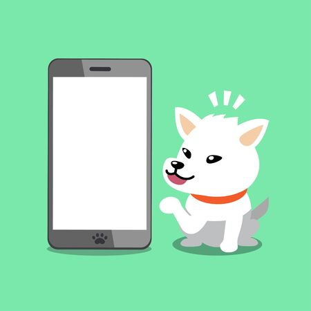 Cartoon vector character white dog with smartphone for design.