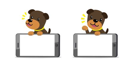 Vector cartoon character brown dog and big smartphone for design. Illustration