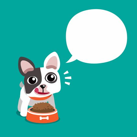 Vector cartoon character cute french bulldog and white speech bubble for design.