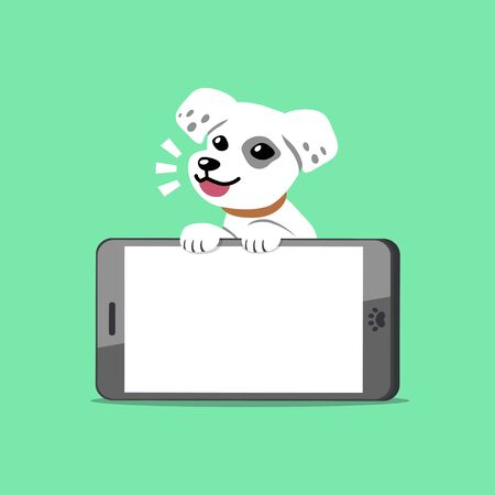 Vector cartoon character cute white dog with smartphone for design.