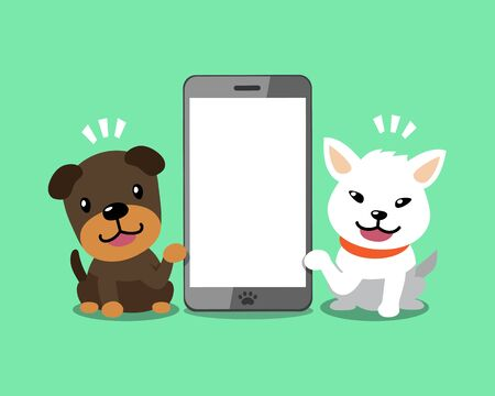 Vector cartoon character happy dogs with smartphone for design.