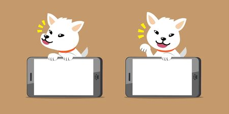 Vector cartoon character white dog and big smartphone for design.