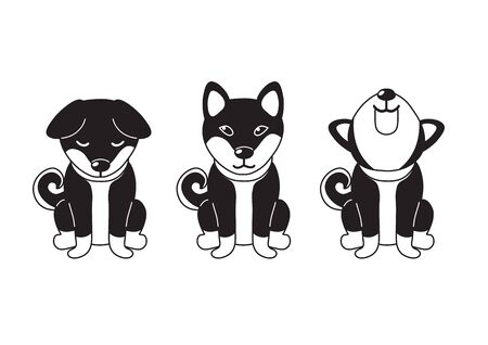 Vector cartoon character shiba inu dog poses for design.