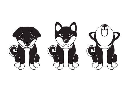 Vector cartoon character shiba inu dog poses for design. Stock Vector - 138469825