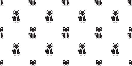 Vector cartoon character shiba inu dog seamless pattern background for design. Illustration