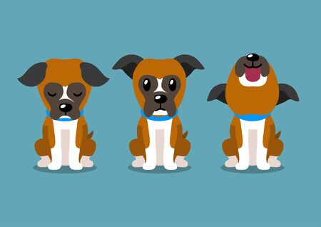 Cartoon character boxer dog poses for design. Illustration