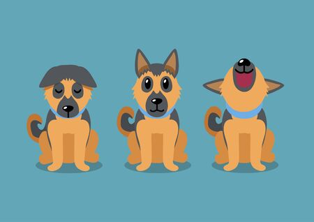 Cartoon character german shepherd dog poses for design. Illustration