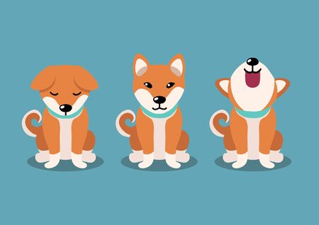 Cartoon character shiba inu dog poses for design.