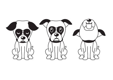 Vector cartoon character boxer dog poses for design.