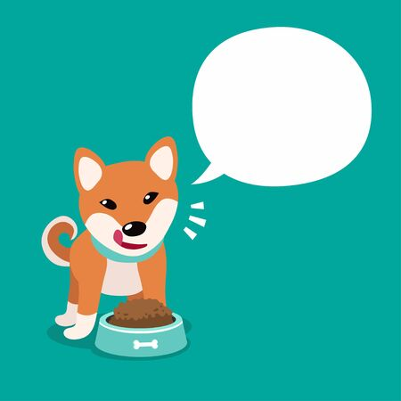 Vector cartoon character cute shiba inu dog and white speech bubble for design.