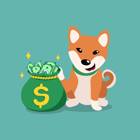 Vector cartoon character cute shiba inu dog with money bag for design.