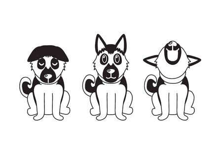 Vector cartoon character german shepherd dog poses for design.
