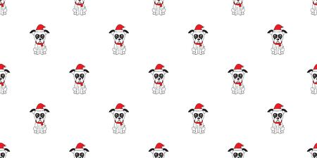 Cartoon boxer dog with santa claus christmas hat seamless pattern background for design. Illustration