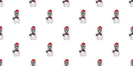Cartoon german shepherd dog with santa claus christmas hat seamless pattern background for design.