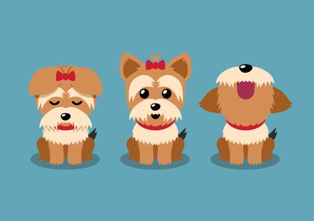 Cartoon character yorkshire terrier dog poses set for design.