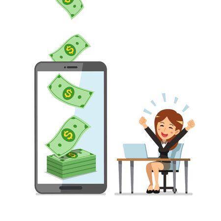 Business concept cartoon smartphone help businesswoman to earn money for design. Ilustracja