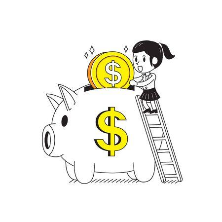 Cartoon businesswoman and piggy for design.