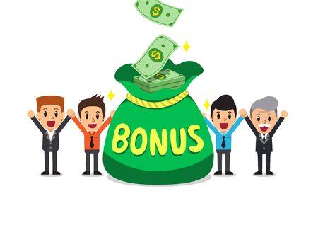 Cartoon happy business people with big bonus money bag for design.