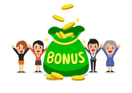 Cartoon happy business women with big bonus money bag for design.
