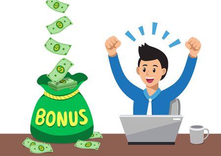 Cartoon happy businessman with big bonus money bag for design.
