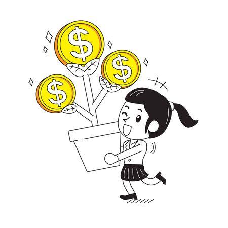 Cartoon happy businesswoman with money tree for design. Ilustracja