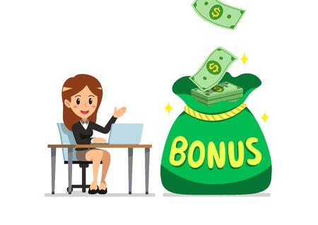 Vector cartoon happy business woman with big bonus money bag for design.