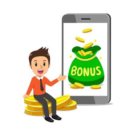 Cartoon businessman with big bonus money bag on smartphone screen for design.