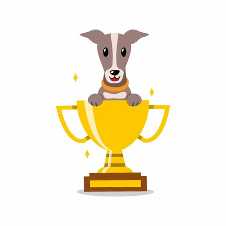 Cartoon character greyhound dog with gold trophy cup award for design.