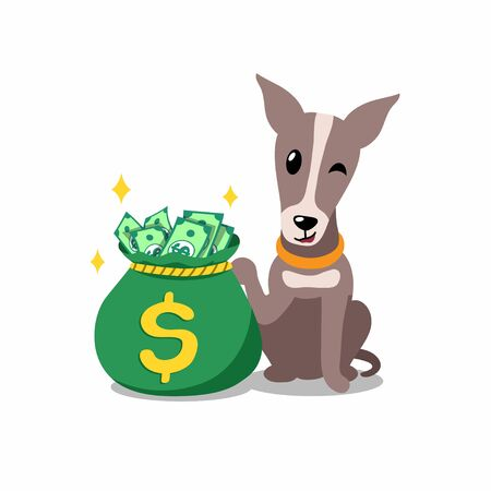 Vector cartoon character greyhound dog with money bag for design.