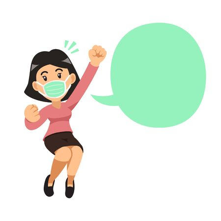 Air pollution concept woman wearing protective face mask and speech bubble for design.