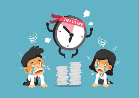 Cartoon deadline clock character and business people for design.