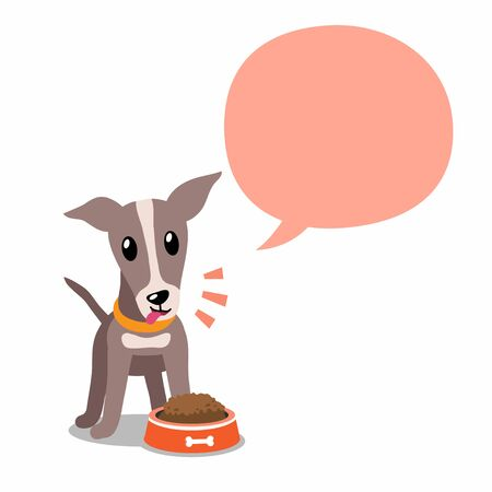 Vector cartoon character greyhound dog and speech bubble for design. 向量圖像