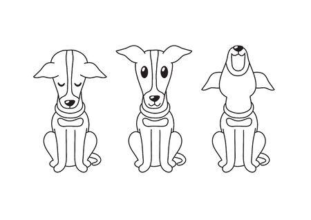 Cartoon character greyhound dog poses for design.