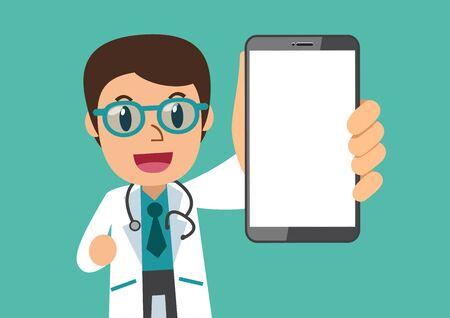 Männlicher Arzt der Zeichentrickfilm-Figur mit leerem Bildschirm-Smartphone für Design. Vektorgrafik