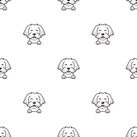 Cartoon character maltese dog seamless pattern background for design.
