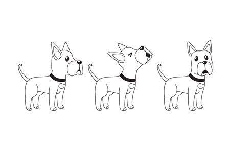 Vector cartoon character great dane dog poses set for design.